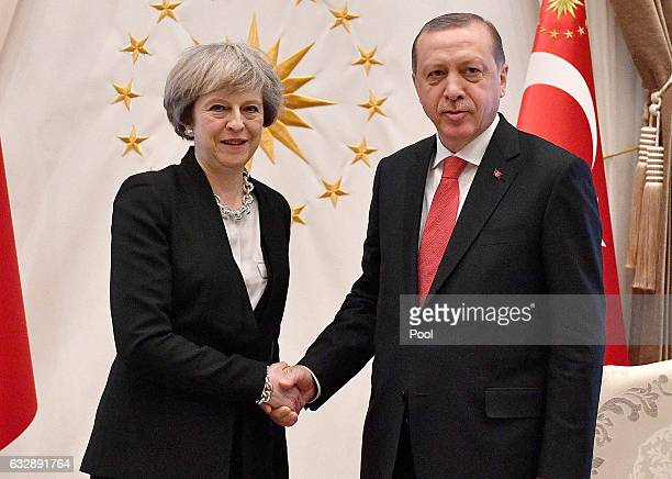 British Prime Minister Theresa May meets President Recep Tayyip Erdogan at the Presidential Palace on January 28 2017 in Ankara Turkey Prime Minister...