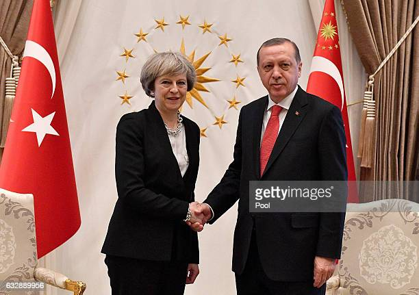 British Prime Minister Theresa May meets President Recep Tayyip Erdogan on January 28 2017 in Ankara Turkey Prime Minister Theresa May is in Turkey...