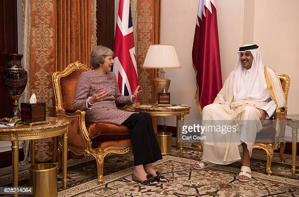 British Prime Minister Theresa May meets Sheikh Tamim bin Hamad Al Thani the Emir of Qatar during a bilateral meeting at the Gulf Cooperation Council...