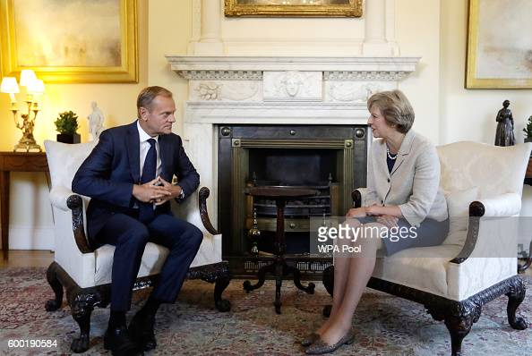 British Prime Minister Theresa May meets the President of the European Council Donald Tusk in Downing Street on September 8 2016 in London England...