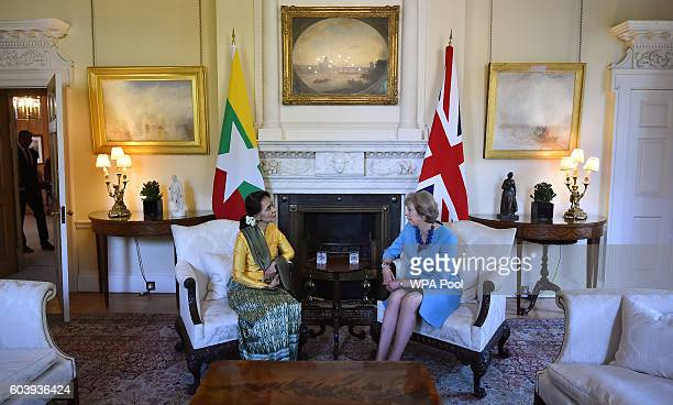 British Prime Minister Theresa May meets with Burmese leader and State Counsellor Daw Aung San Suu Kyi inside number 10 Downing Street on September...