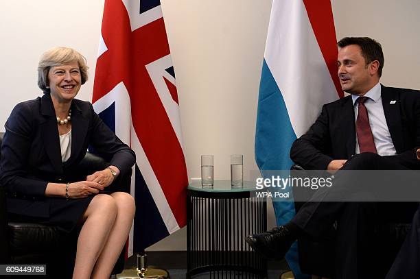 British Prime Minister Theresa May meets with her Luxembourg Prime Minister Xavier Bettel during the United Nations General Assembly on September 20...