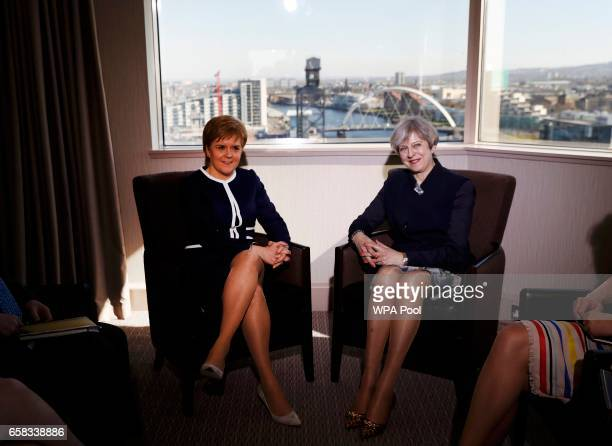 British Prime Minister Theresa May meets with Scottish First Minister Nicola Sturgeon at the Crown Plaza Hotel on March 27 2017 in Glasgow Scotland...