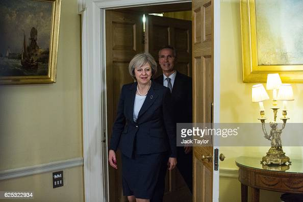 British Prime Minister Theresa May meets with Secretary General of NATO Jens Stoltenberg at 10 Downing Street on November 23 2016 in London England...
