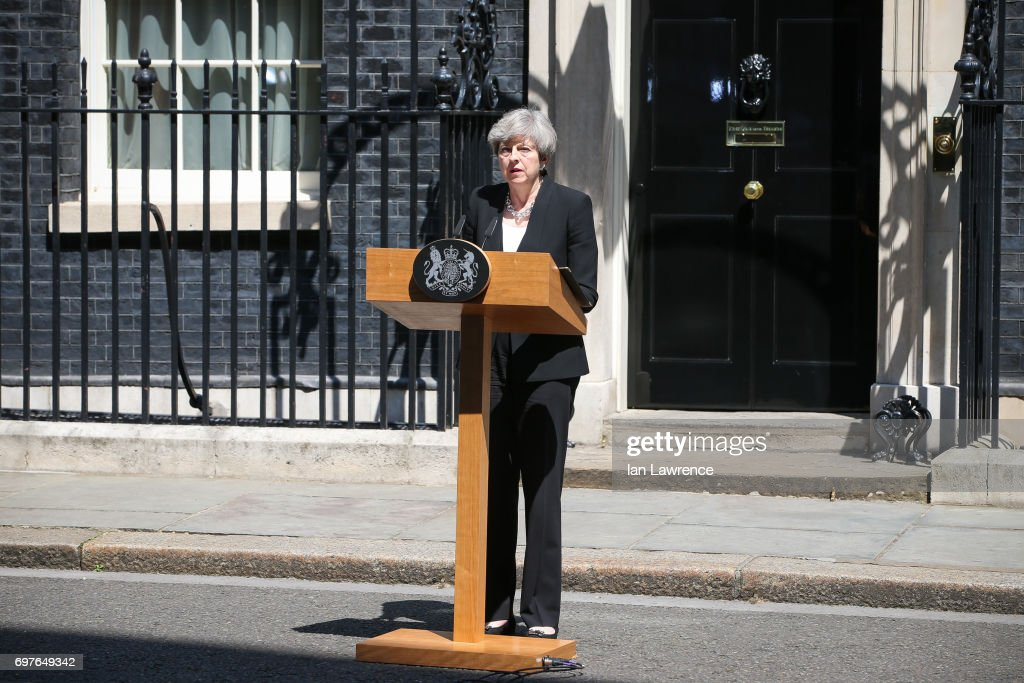 British Prime Minister Theresa May responds to last night's terror attack in Finsbury Park in a speech outside Downing Street on June 19, 2017 in London, England. Worshippers were struck by a hired van as they were leaving Finsbury Park mosque in North London after Ramadan prayers. One person was killed in the terror attack with a further 10 people injured.