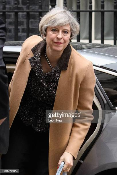 British Prime Minister Theresa May returns to number 10 Downing Street after delivering a statement on the EU Council meeting to the House of Commons...
