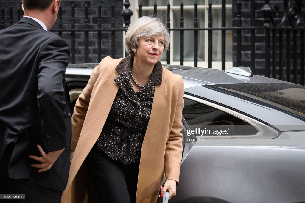 British Prime Minister Theresa May returns to number 10, Downing Street, after delivering a statement on the EU Council meeting, to the House of Commons on March 14, 2017 in London, England. Following a vote in Parliament, British Prime Minister Theresa May now has the power to trigger Article 50, formally beginning the process that will see Britain leave the European Union.
