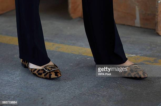 British Prime Minister Theresa May shoe detail visits Martinek joinery factory on August 3 2016 in London United Kingdom
