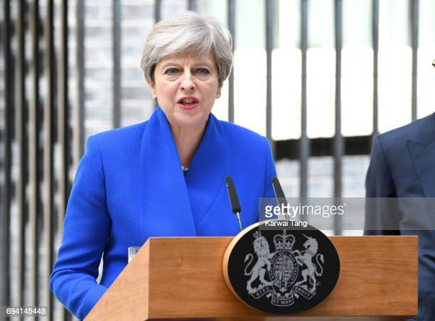 British Prime Minister Theresa May speaks after returning from Buckingham Palace outside 10 Downing Street on June 9 2017 in London England After a...