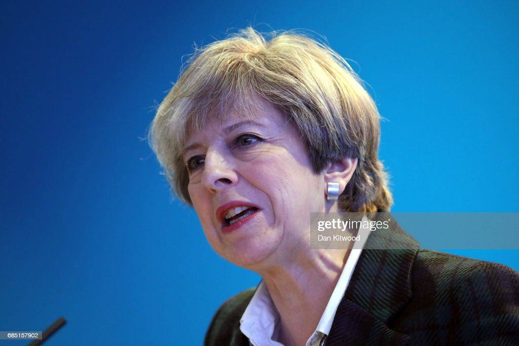 British Prime Minister Theresa May speaks after Scottish Conservative Party leader Ruth Davidson delivered her Scottish manifesto on May 19, 2017 in Edinburgh, Scotland. The Scottish Conservative manifesto includes commitments to the Borderlands Growth Deal and protecting farming income as well as support for remote Island wind energy projects and North Sea industry support. The British Prime Minister, Theresa May, supported the manifesto with a visit via the Conservative campaign bus.