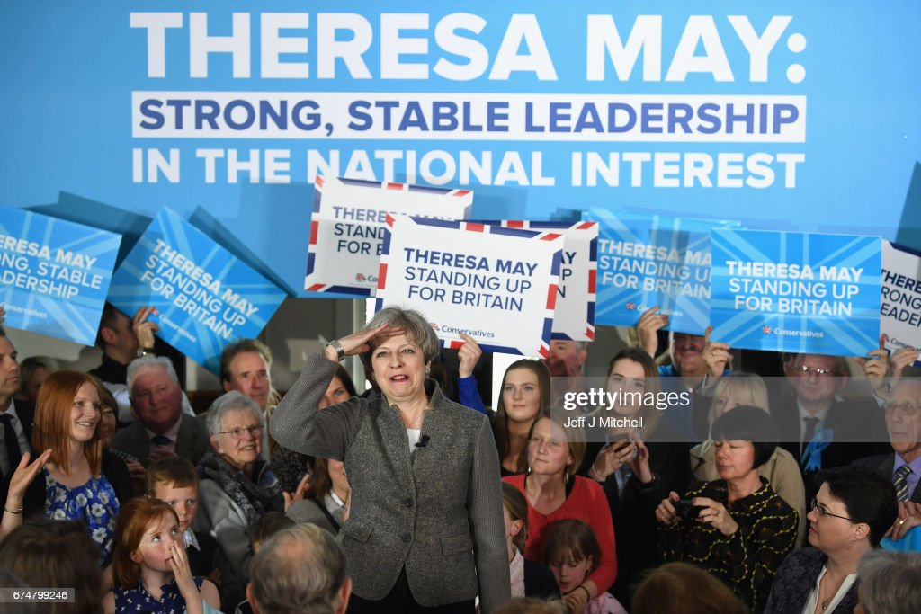 British Prime Minister Theresa May speaks at an election campaign rally on April 29, 2017 in Banchory, Scotland. The Prime Minister is campaigning in Scotland with the message that a vote for the Conservatives would strengthen the economy and the UK's hand in Brexit negotiations. The UK goes to the polls on June 8.