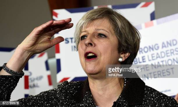 British Prime Minister Theresa May speaks at the Brackla Community Centre on April 25 2017 in Bridgend Wales Theresa May's visit to South Wales today...