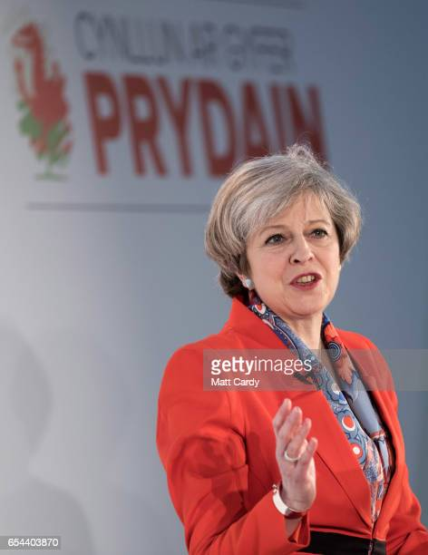 British Prime Minister Theresa May speaks at the Conservative Spring Forum on March 17 2017 in Cardiff Wales In her speech the Prime Minister set out...