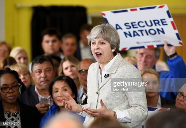 British Prime Minister Theresa May speaks during a campaign event at St James catholic primary school on May 29 2017 in Twickenham United Kingdom...