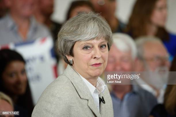 British Prime Minister Theresa May speaks during a campaign event on May 29 2017 in Twickenham United Kingdom Tonight Prime Minister and Conservative...