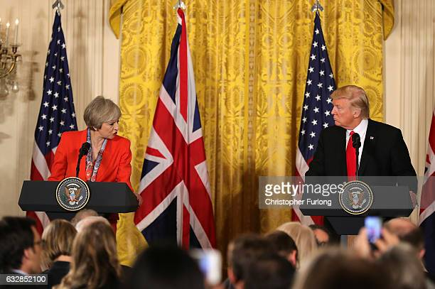 British Prime Minister Theresa May speaks during a joint press conference with US President Donald Trump in The East Room at The White House on...