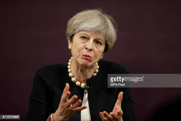 British Prime Minister Theresa May speaks during a questions and answer session after delivering a speech at the Royal Society for the encouragement...