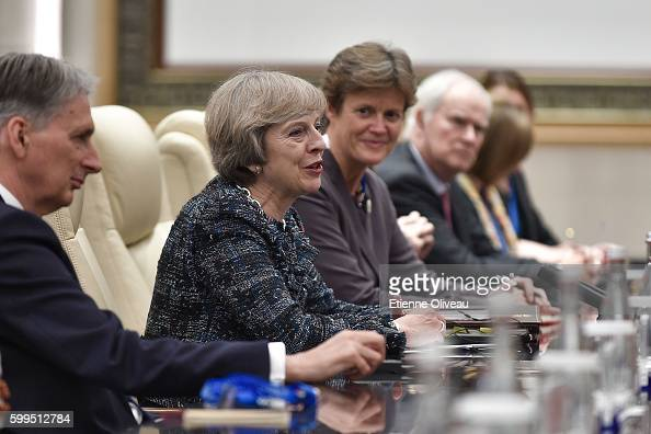 British Prime Minister Theresa May speaks during his meeting with Chinese President Xi Jinping at the West Lake State House on September 5 2016 in...
