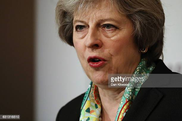 British Prime Minister Theresa May speaks to members of the Charity Commision for England and Wales at The Royal Society on January 09 2017 in London...