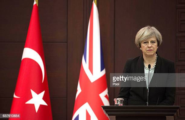 British Prime Minister Theresa May speaksat a press conference on January 28 in Ankara Turkey Prime Minister Theresa May is in Turkey to start...
