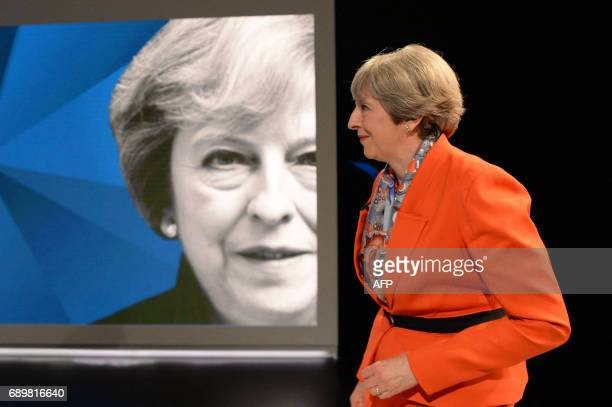 British Prime Minister Theresa May takes part in the 'May v Corbyn Live The Battle for Number 10' Sky News and Channel 4 event in at Sky Studios in...