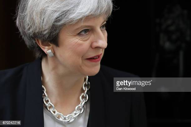 British Prime Minister Theresa May waits to greet Ukrainian President Petro Poroshenko to Downing Street on April 18 2017 in London United Kingdom...