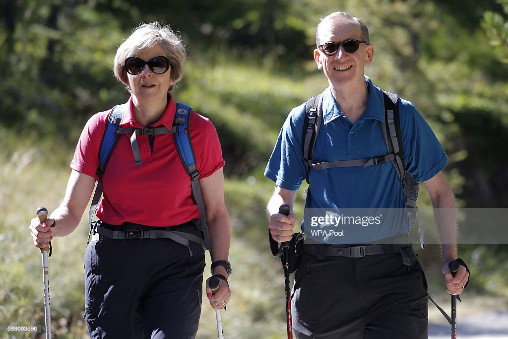 British Prime Minister Theresa May On Holiday In Switzerland
