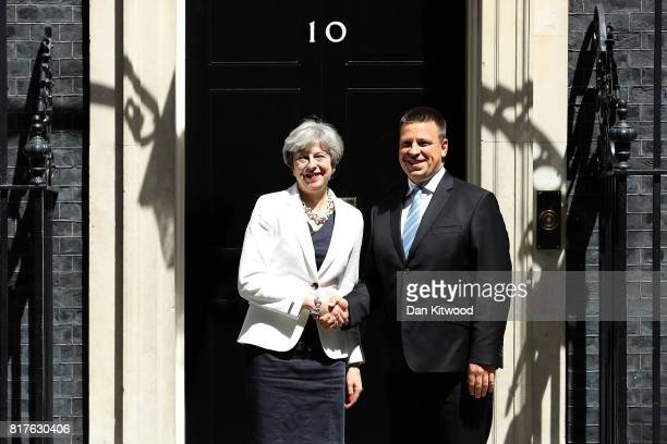 British Prime Minister Theresa May welcomes Estonian Prime Minister Juri Ratas to 10 Downing Street on July 18 2017 in London England
