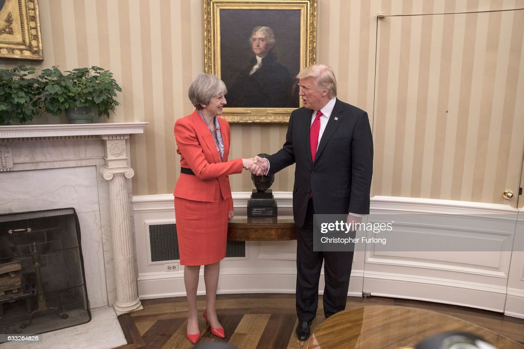 British Prime Minister Theresa May with U.S. President Donald Trump in The Oval Office at The White House on January 27, 2017 in Washington, DC. British Prime Minister Theresa May is on a two-day visit to the United States and will be the first world leader to meet with President Donald Trump.