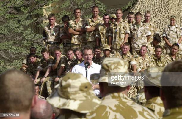 British Prime Minister Tony Blair addresses the troops at Al Sha'afa camp in north Oman as part of a two day diplomatic visit to the area Al Sha'afa...