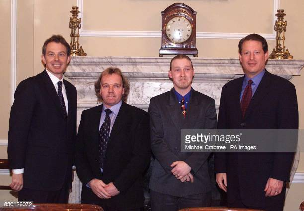 British Prime Minister Tony Blair and American Vice President Al Gore pose for photographers with Steve Cockroft and Wayne Mingham at No10 Downing...