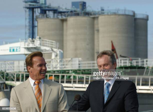 British Prime Minister Tony Blair and California governor Arnold Schwarzenegger holding a press conference at the BP oil refinery in the Port of Los...