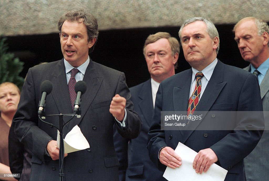 British Prime Minister Tony Blair And His Irish Counterpart Bertie Ahern Present A Joint British-Irish Blueprint For Implementation Of The Good Friday Agreement At Stormont Castle In Belfast June 2, 1999. The Good Friday Agreement, Signed Last Year By Catholic And Protestant Leaders, Is Meant To Bring Peace To Northern Ireland, Though Its Full Implementation Has Recently Been Stalled By Disagreements Between Sinn Fein And The Ulster Unionist Party Over Disarmament By The Ira.