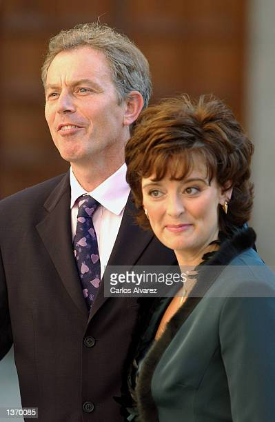 British Prime Minister Tony Blair and his wife Cheri arrive at the Chapel of the Monastery of El Escorial for the wedding of Ana Aznar daughter of...