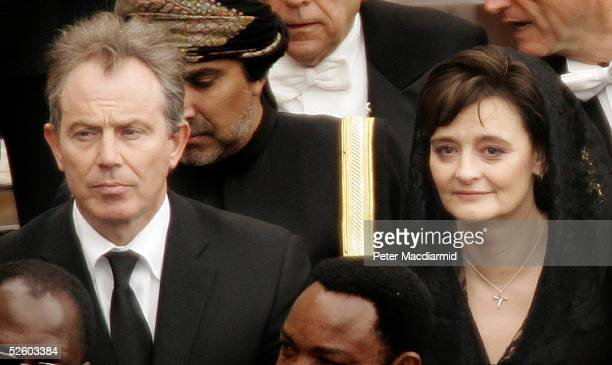 British Prime Minister Tony Blair and his wife Cherie attend Pope John Paul II's funeral in St Peter's Square on April 8 in Vatican City Cardinals...