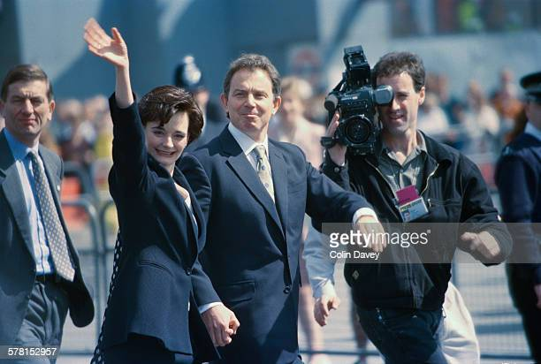 British Prime Minister Tony Blair and his wife Cherie Blair attend the State Opening of Parliament in London UK 14th May 1997