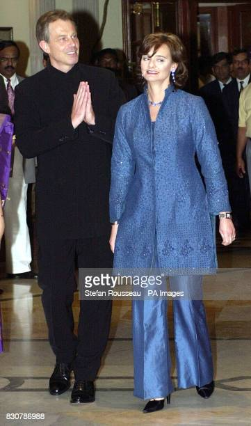 British Prime Minister Tony Blair and his wife Cherie in Bangalore India going to dinner in national dress The Blairs are in the area as part of a...