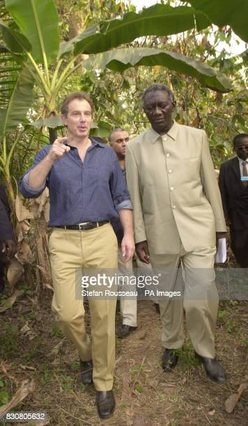 British Prime Minister Tony Blair and President John Kufuor visit a cocoa Cooperative Farm in Nankesi eastern Ghana during his 4 day visit to west...