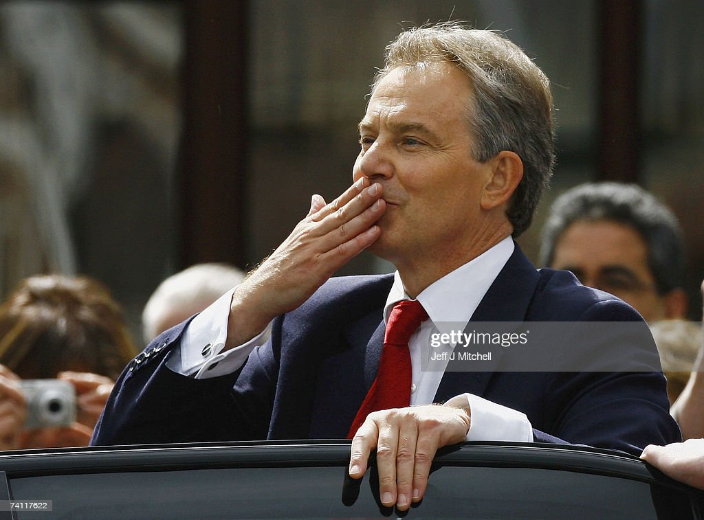British Prime Minister Tony Blair, blows a kiss to supporters as he leaves Trimdon Labour Club in his constituency of Sedgfield on May 10, 2007 in Sedgfield, England. Prime Minister Blair was greeted by supporters upholding a promise that they would be the first to know of his resignation as Labour Party leader and Prime Minister.