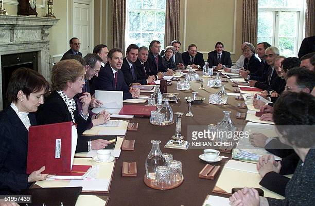 British Prime Minister Tony Blair chairs a special Cabinet meeting in Downing Street 08 October 2001 Later Blair was travelling to the House of...
