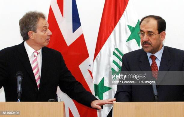 British Prime Minister Tony Blair cohosts a press conference with Nouri Al Maliki the new Prime Minister of Iraq's National Unity Government in...