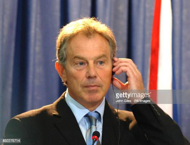 British Prime Minister Tony Blair during the joint Press Conference between Blair Minister and Palestinian President Mahmoud Abbas at the...