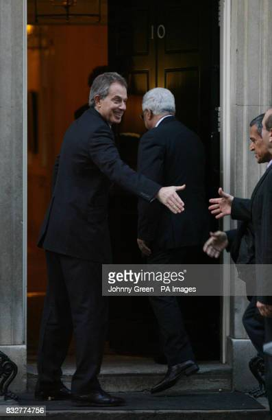 British Prime Minister Tony Blair greets a Palestinian delegation including the Palestinian President Mahmoud Abbas on the steps of No 10 Downing...