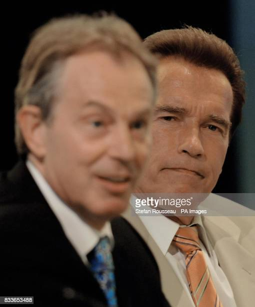British Prime Minister Tony Blair holds a meeting on international greenhouse gas emissions with California governor Arnold Schwarzenegger at the BP...