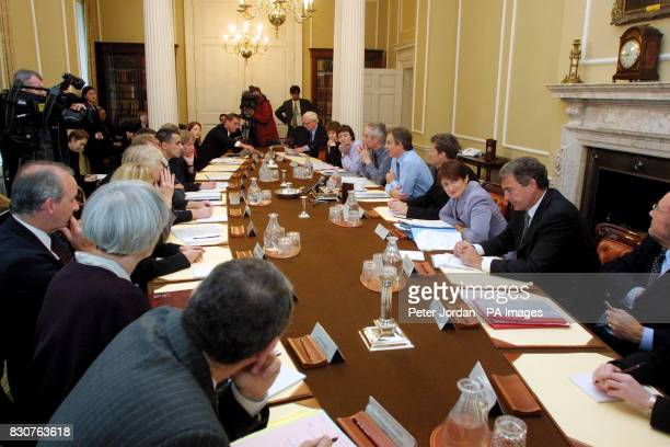 British Prime Minister Tony Blair in the Cabinet Room in London's Downing Street where he met key figures from the world of sport to discuss the...