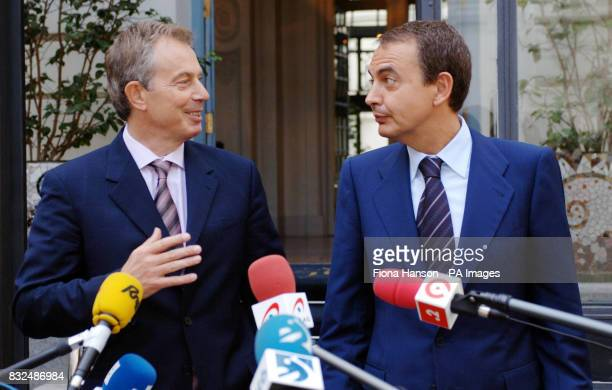 British Prime Minister Tony Blair left and Spain's Prime Minister Jose Luis Rodriguez Zapatero hold a 'doorstep' news conference at the Santo Mauro...