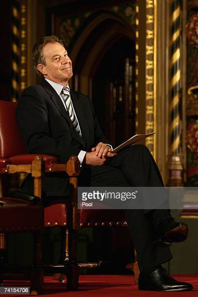 British Prime Minister Tony Blair listens to Irish Taioseach Bertie Ahern's address to representatives from both Houses of the British Parliament the...
