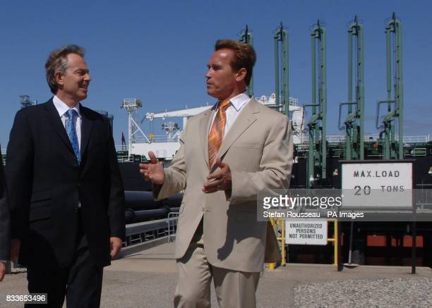 British Prime Minister Tony Blair meets California governor Arnold Schwarzenegger before their meeting on international greenhouse gas emissions at...