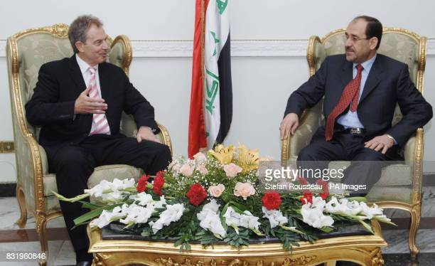 British Prime Minister Tony Blair meets with Nouri Al Maliki the new Prime Minister of Iraq's National Unity Government after arriving in Baghdad