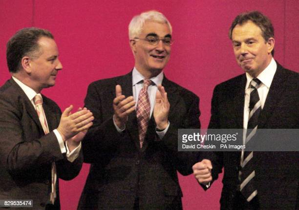 British Prime Minister Tony Blair right with Scotland's First Minister Jack McConnell left and the Secretary of State Alistair Darling
